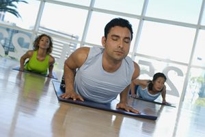 A yoga class offered as part of the fitness services of Phoenix Athletica in Pocono Summit, PA