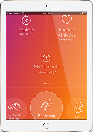 An iPad using the fitness services app from Phoenix Athletica in Pocono Summit, PA